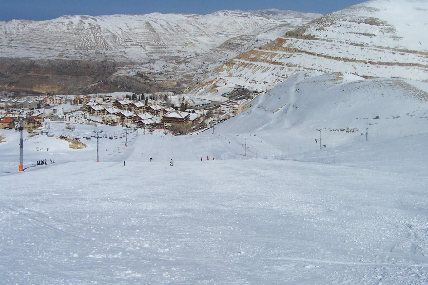 View from the refuge slope towards the Intercontinental Mountain Resort and Spa at Faraya Mzaar, Lebanon