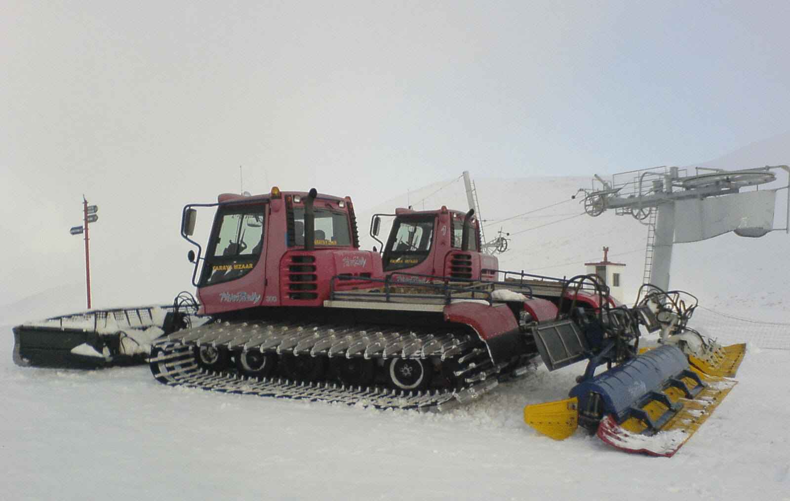 Ski slope grooming machines at Jonciton slope of the Faraya Mzaar ski resort in Lebanon